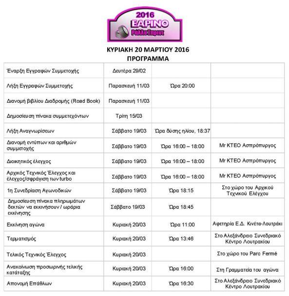 programma earino rally sprint 2016 start line