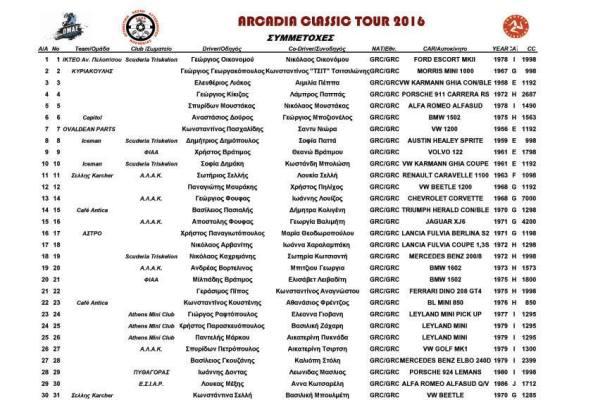 00 ARCADIA CLASSIC TOUR REGULARITY RALLY