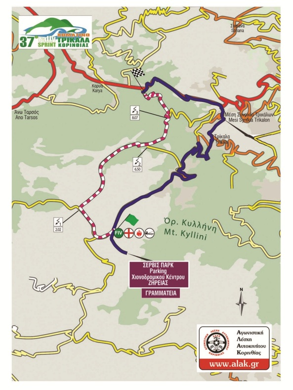 map 37o rally sprint korinthou 2016